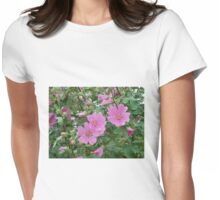 Delicate Pink Hibiscus Blossoms  Womens Fitted T-Shirt