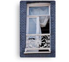 Blue Brick Window Canvas Print