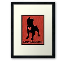 "Pit Bull Terrier ""Loving Dog"", Red Chevron Framed Print"