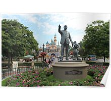 Partners Statue Disneyland Castle Poster