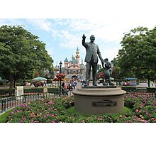 Partners Statue Disneyland Castle Photographic Print