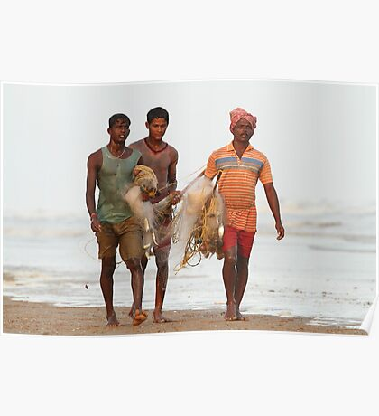 Fishermen returning with the catch. Poster