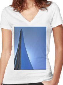 Metal Water Drop Women's Fitted V-Neck T-Shirt