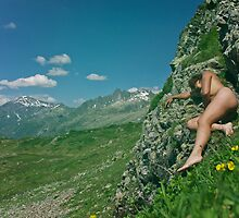 Girl asleep on a cliff 2 by Rose Robin