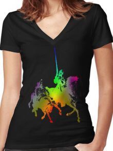 Psychedelic Don Quixote and Sancho Panza Women's Fitted V-Neck T-Shirt