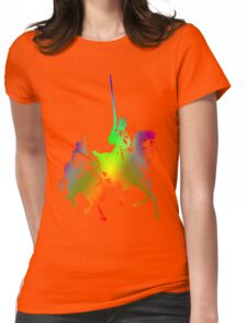 Psychedelic Don Quixote and Sancho Panza Womens Fitted T-Shirt