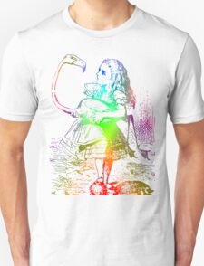 Psychedelic Alice With Colorful Flamingo T-Shirt