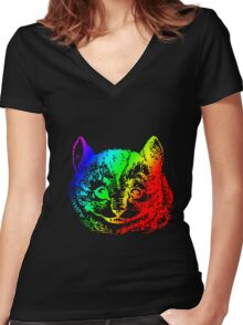 Psychedelic Cheshire Cat Trippy Alice Women's Fitted V-Neck T-Shirt