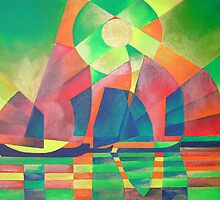 Sea of Green With Cubist Abstract Junks by taiche