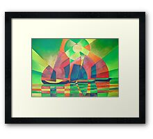 Sea of Green With Cubist Abstract Junks Framed Print
