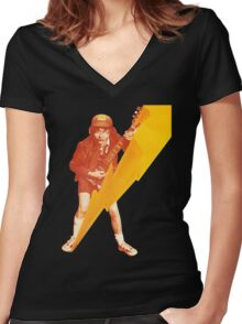 ACDC Angus Young Guitar Women's Fitted V-Neck T-Shirt
