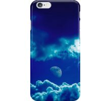 Blue clouds and moon  iPhone Case/Skin
