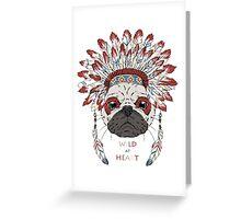 PUG wild a heart Greeting Card