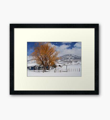 Outstanding in Orange - Snow Scene Framed Print