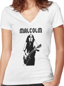 ACDC Malcolm Young Guitar Women's Fitted V-Neck T-Shirt