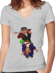 Largo LaGrande and Guybrush (Monkey Island 2) Women's Fitted V-Neck T-Shirt
