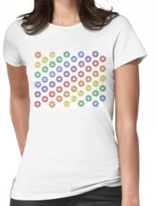 Rainbow Floral White  Womens Fitted T-Shirt