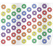 Rainbow Floral Repeat Pattern White Pencil Sketch Poster