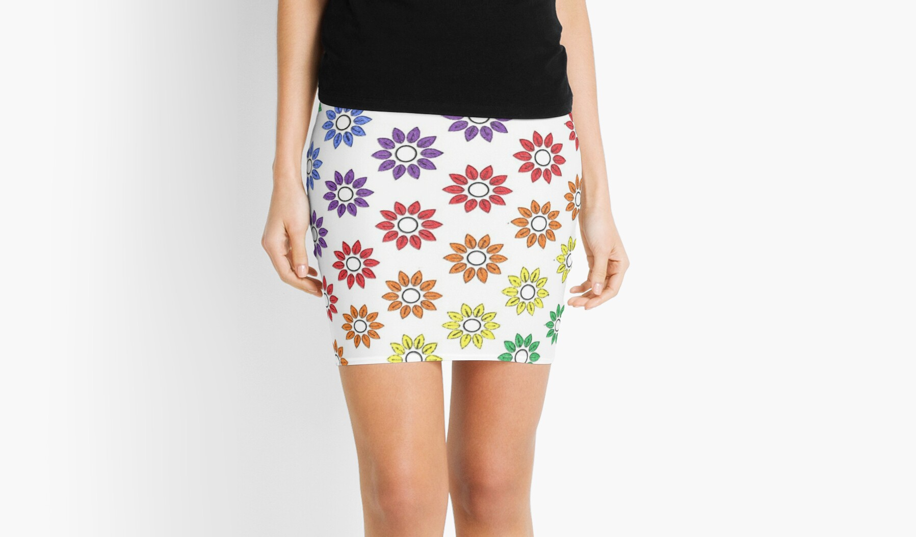 rainbow floral repeat pattern white pencil sketch by saravalor