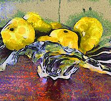 Yellow Pears in a Crystal Bowl by suzannem73