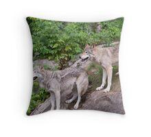 Timberwolf pair Throw Pillow