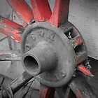 Old Horse Carriage Wheel - Selective Color by Maria Schlossberg