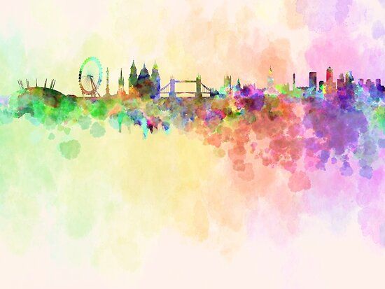 London skyline in watercolor background by paulrommer