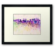 Singapore skyline in watercolor background Framed Print