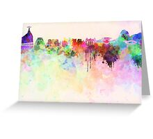Rio de Janeiro skyline in watercolor background Greeting Card