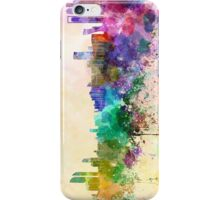 Abu Dhabi skyline in watercolor background iPhone Case/Skin