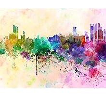 Abu Dhabi skyline in watercolor background Photographic Print