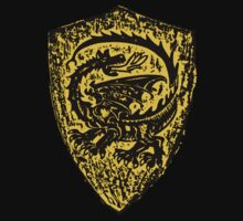 Shield up! Fear not, Medieval dragon shield t-shirt.  by patjila