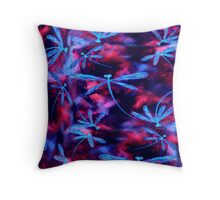Dragonfly Flit Hyper Rose Throw Pillow