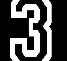 3, TEAM SPORTS, NUMBER 3, THREE, THIRD, Competition, White on Black by TOM HILL - Designer