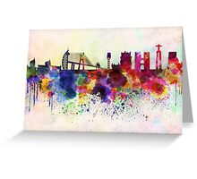 Lisbon skyline in watercolor background Greeting Card