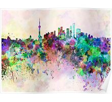 Shanghai skyline in watercolor background Poster