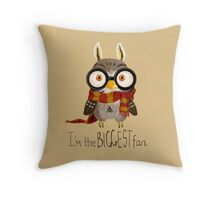 Small owlet - Biggest HP fan Throw Pillow