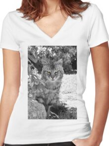 Glowing Green Eyes  Women's Fitted V-Neck T-Shirt