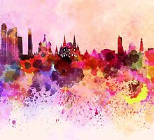 Moscow skyline in watercolor background by paulrommer