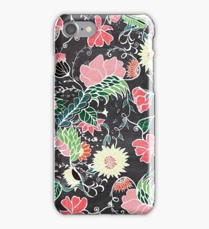 Pastel preppy hand drawn garden flowers chalkboard iPhone Case/Skin