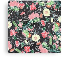 Pastel preppy hand drawn garden flowers chalkboard Canvas Print