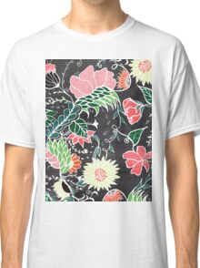 Pastel preppy hand drawn garden flowers chalkboard Classic T-Shirt