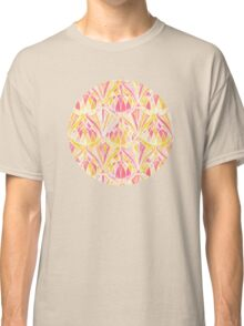 Art Deco Pattern in Pink and Orange Classic T-Shirt