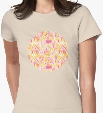 Art Deco Pattern in Pink and Orange Womens Fitted T-Shirt