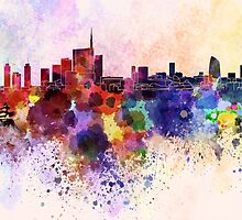 Milan skyline in watercolor background by paulrommer