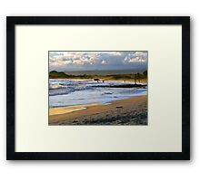Beach Fun At Dusk On Isabela In The Galapagos Framed Print
