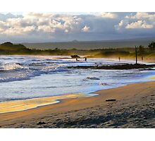 Beach Fun At Dusk On Isabela In The Galapagos Photographic Print