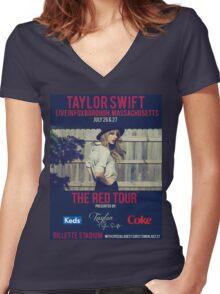 taylor swift - gillette stadium Women's Fitted V-Neck T-Shirt