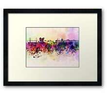 Copenhagen skyline in watercolor background Framed Print