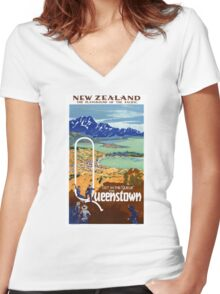 New Zealand Vintage Travel Poster Restored Women's Fitted V-Neck T-Shirt